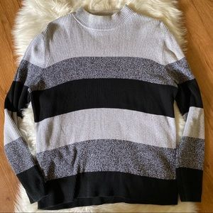 KAREN SCOTT COLOR BLOCK MOCK NECK SWEATER